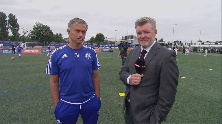Jose Mourinho talks to Sky Sports' Geoff Shreeves at the Premier League launch at Southfields Academy