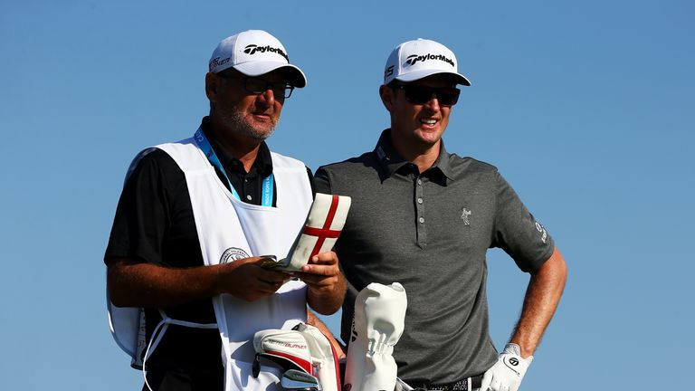 Justin Rose with his caddy Mark Fulcher during the third round of the PGA Championship at Whistling Straits