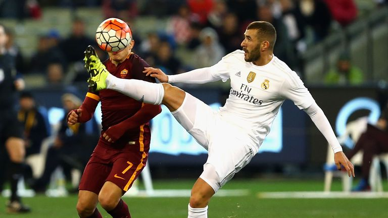 MELBOURNE, AUSTRALIA - JULY 18:  Karim Benzema of Real Madrid controls the ball during the International Champions Cup friendly match between Real Madrid a