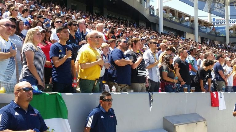 The LA Galaxy fans during the national anthem before taking on New York City.
