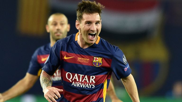 Lionel Messi celebrates scoring a goal during the UEFA Super Cup against Sevilla
