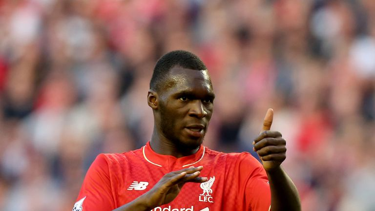 Liverpool's Christian Benteke gives a thumbs-up during the against Bournemouth.