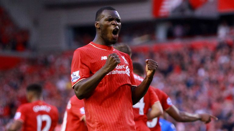 Liverpool's Christian Benteke celebrates scoring his side's first goal of the game during the Barclays Premier League match at Anfield, Liverpool