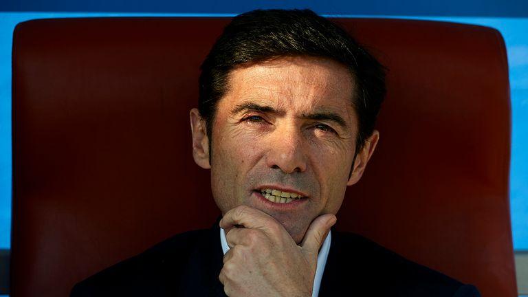 Head coach Marcelino Garcia of Villarreal looks  on prior to start the La Liga match between Levante UD and Villarreal CF a
