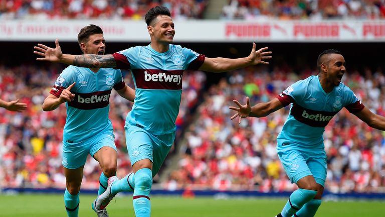 West Ham's Mauro Zarate celebrates