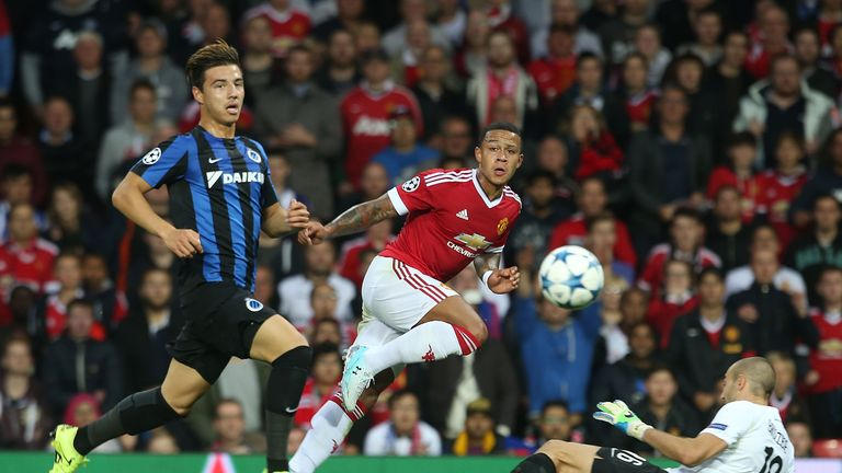Memphis Depay of Manchester United in action