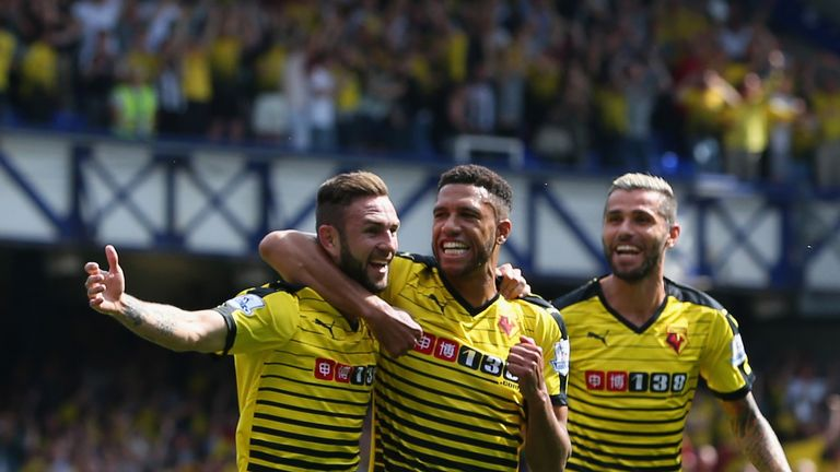 Miguel Layun celebrates scoring Watford's first goal with team-mate Etienne Capoue to put the Hornets 1-0 up at Goodison Park