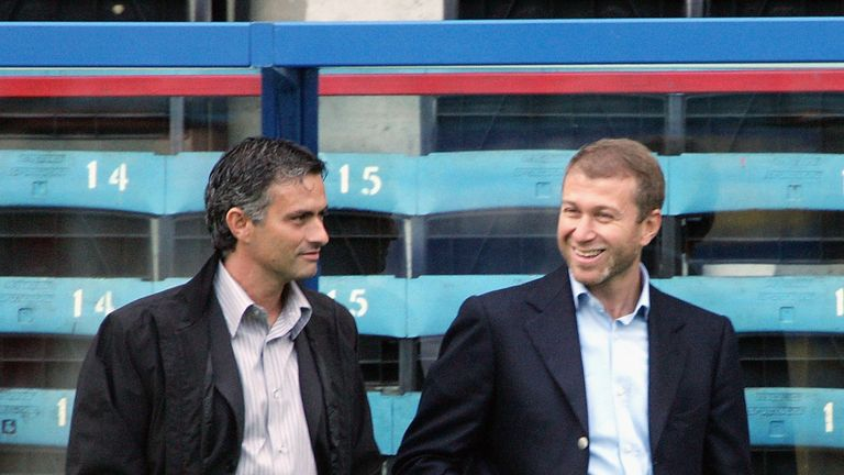 Mourinho with Roman Abramovich in 2004 but will they part again?