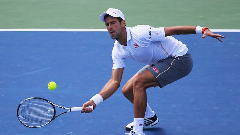 Novak Djokovic plays at the US Open on Monday
