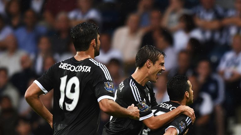 Pedro celebrates scoring on his Chelsea debut