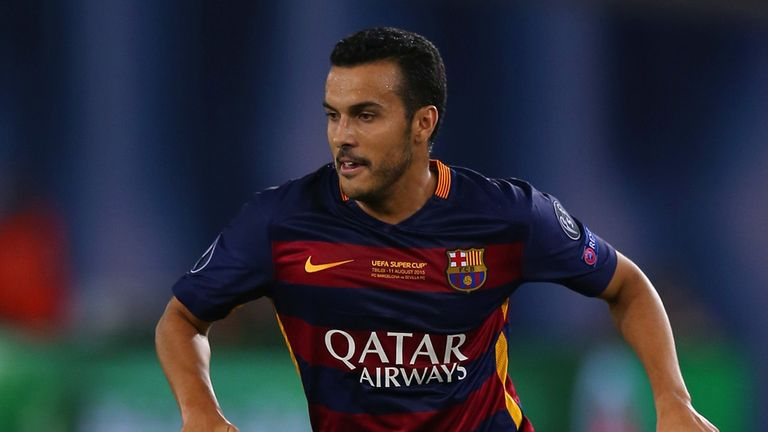 TBILISI, GEORGIA - AUGUST 11:  Pedro of Barcelona on the ball during the UEFA Super Cup between Barcelona and Sevilla FC at Dinamo Arena on August 11, 2015