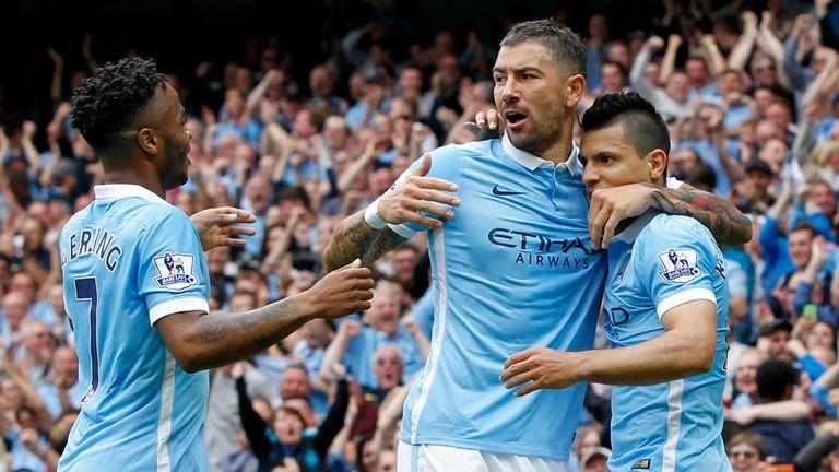 Manchester City's Sergio Aguero celebrates scoring