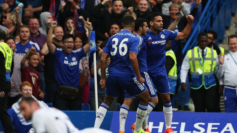 Radamel Falcao of Chelsea celebrates scoring chelsea's first goal against Crystal Palace - 1-1!
