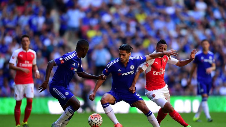 Radamel Falcao (middle) was unable to score on his competitive debut for Chelsea