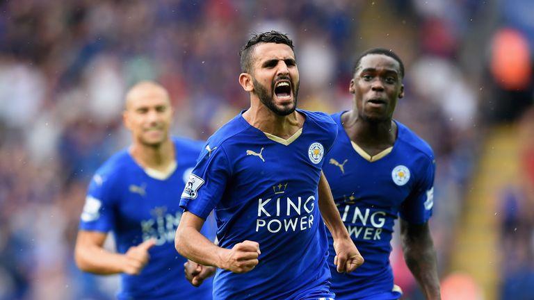 Riyad Mahrez of Leicester City celebrates scoring