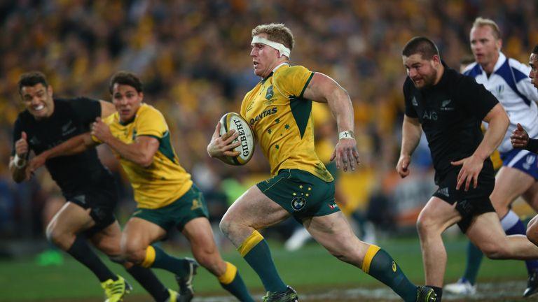 David Pocock makes a break during Australia's victory in Sydney