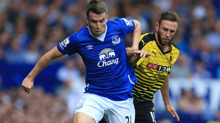 Everton's Seamus Coleman and Watford's Miguel Layun battle for the ball