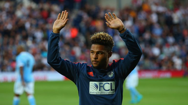 Gnabry was introduced to West Brom fans before their 3-0 defeat to Man City