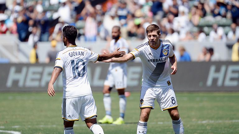 Giovani Dos Santos (left) and Steven Gerrard (right): Both started life well in LA