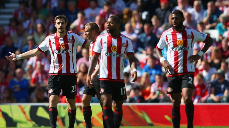 Sunderland players react after conceding the first goal to Norwich