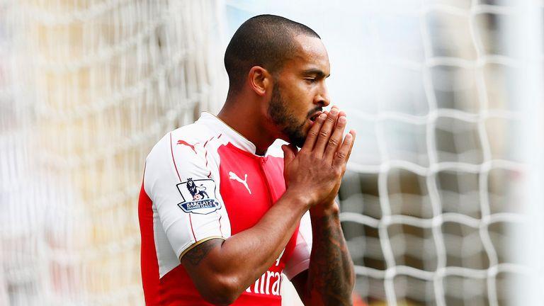 Theo Walcott of Arsenal reacts