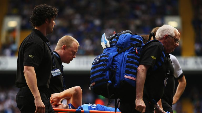 Tom Cleverley of Everton is treated after picking up an injury on Saturday
