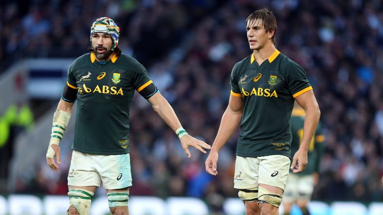 Victor Matfield (left) is receovering well - and could replace Eben Etzebeth (right) against Wales