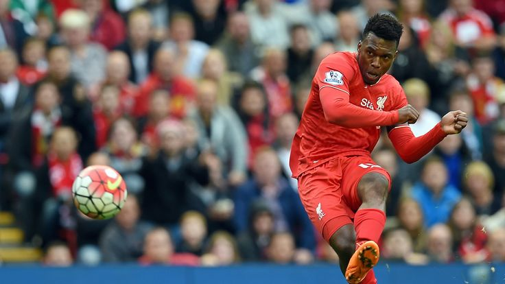 Daniel Sturridge shoots towards goal
