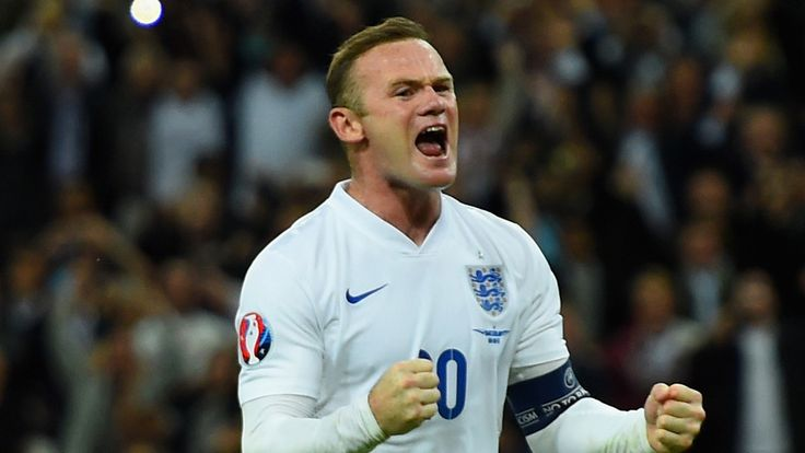 Wayne Rooney celebrates scoring his 50th England goal