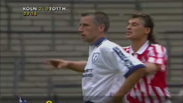 Alan Pardew in action for Tottenham against Cologne in the 1995 Intertoto Cup