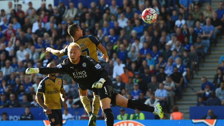 Alexis Sanchez of Arsenal scores his team's third goal  against Leicester City
