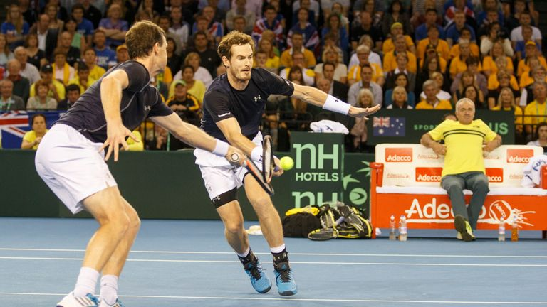 The Murrays overcome Lleyton Hewitt and Sam Groth in five sets
