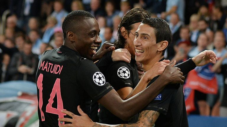 Angel Di Maria celebrates his goal for PSG against Malmo