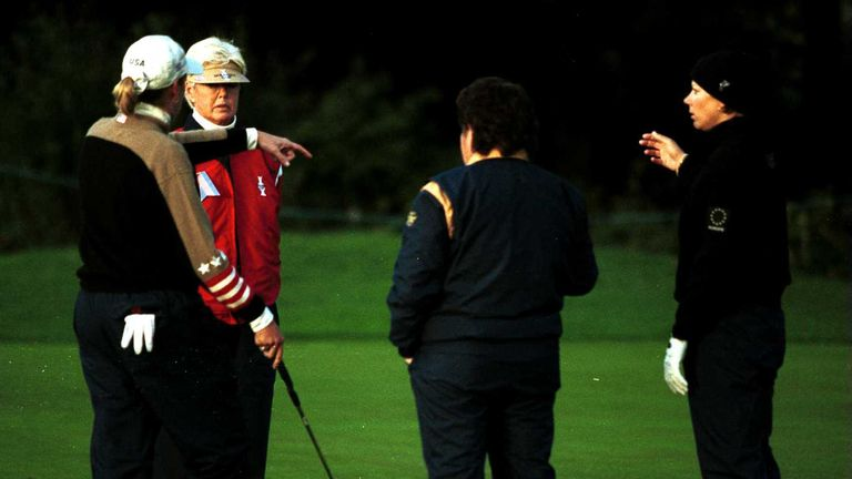 Flashpoint: Annika Sorenstam (right) holes a pitch before being accused of playing out of turn in 2000