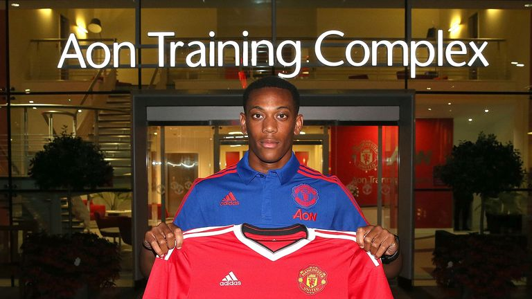 Manchester United unveil new signing Anthony Martial at Aon Training Complex on September 1, 2015 in Manchester, England