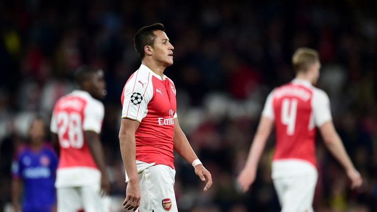 Arsenal's Alexis Sanchez (left) dejected during the UEFA Champions League, Group F match v Olympiakos at Emirates Stadium, London