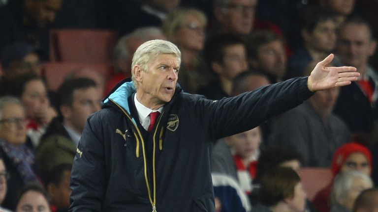Arsenal's French manager Arsene Wenger reacts on the touchline during the UEFA Champions League Group F