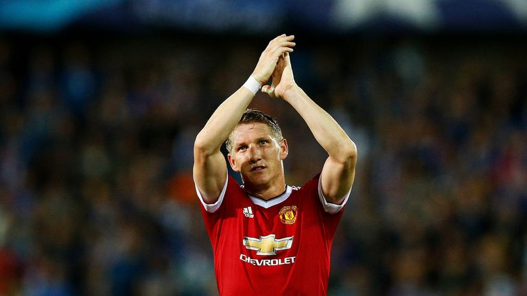 Bastian Schweinsteiger of Manchester United celebrates after the UEFA Champions League qualifying round play off 2nd leg match v Club Brugge
