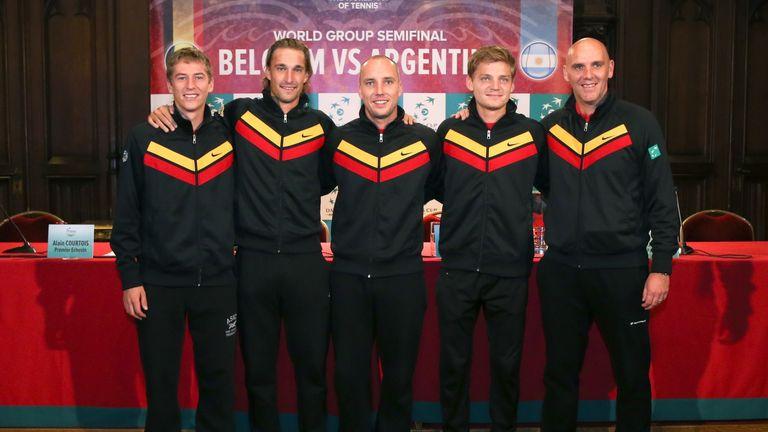 (From L) Belgium's team of Kimmer Coppejans, Ruben Bemelmans, Steve Darcis, David Goffin and captain Johan Van Herck