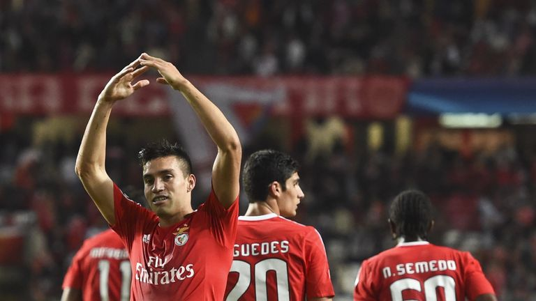 Nicolas Gaitan celebrates after scoring for Benfica against Astana.