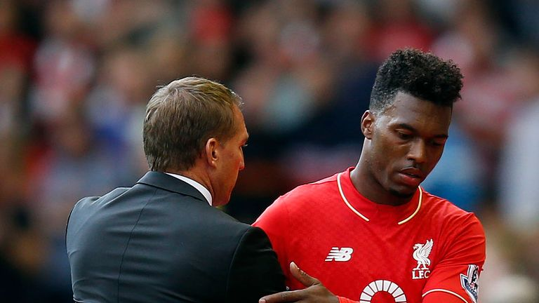 Liverpool's Daniel Sturridge and Liverpool manager Brendan Rodgers during the Barclays Premier League match v Aston Villa at Anfield