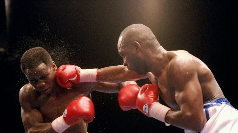 Eubank Jr's father Chris Eubank (left) battles fierce rival Nigel Benn
