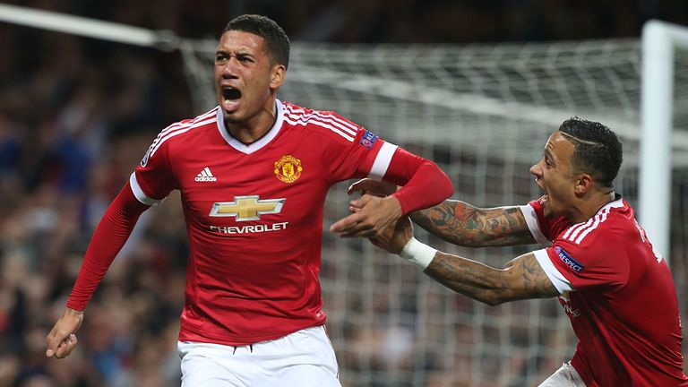 Chris Smalling (left) excelled in defence as well as scoring his goal, said Van Gaal