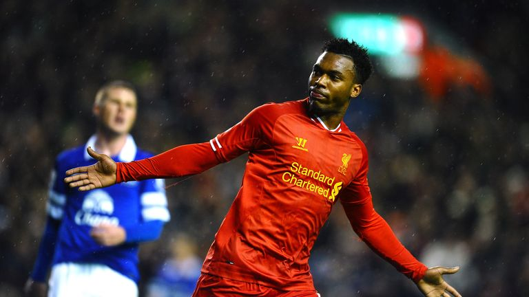 Daniel Sturridge of Liverpool celebrates after scoring his team's second goal during the Barclays Premier League match against Everton in January 2014