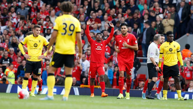 Liverpool's Daniel Sturridge celebrates a goal during the Barclays Premier League match v Aston Villa at Anfield