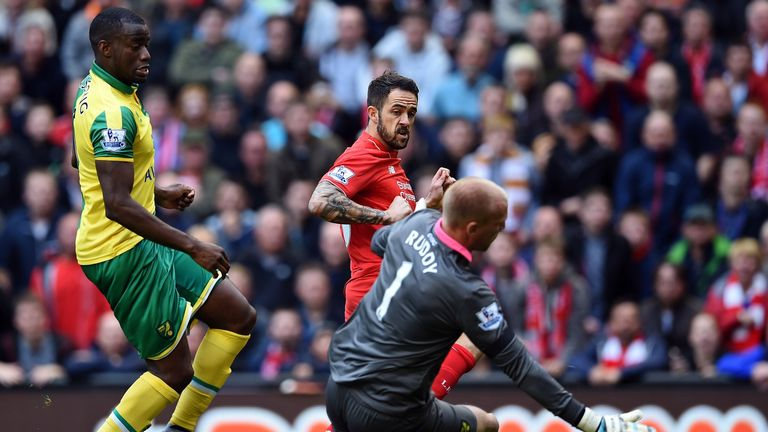 Danny Ings scores his first goal for Liverpool to give them the lead