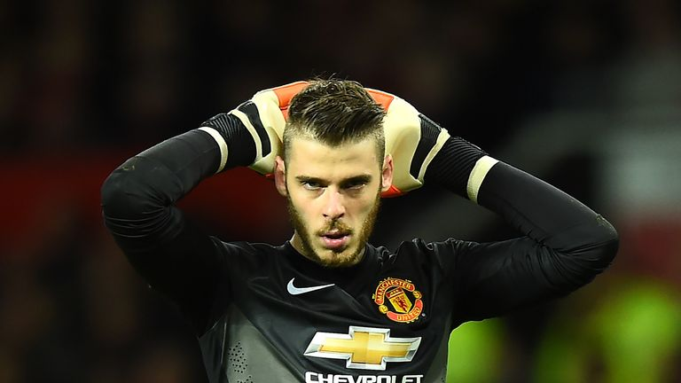 David de Gea of Manchester United looks on during the Barclays Premier League match between Manchester United and Chelsea