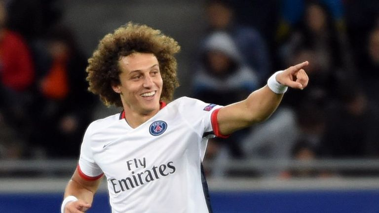 David Luiz celebrates after scoring against Shakhtar Donetsk for Paris Saint-Germain