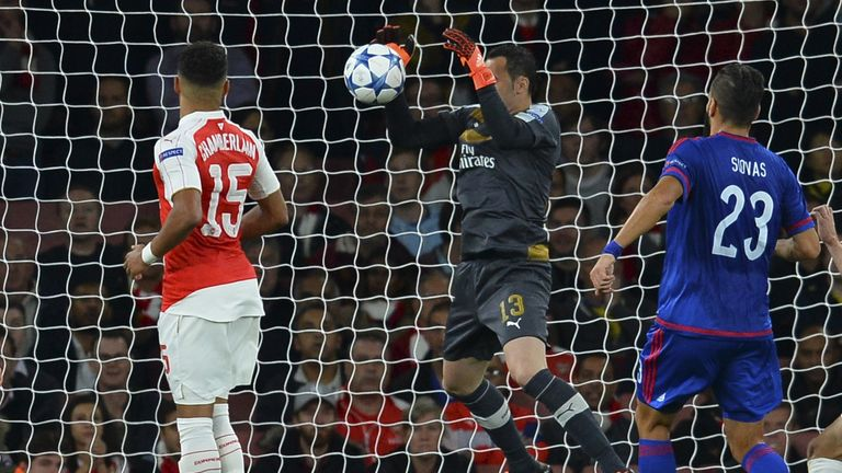 Arsenal's David Ospina drops the ball over the line