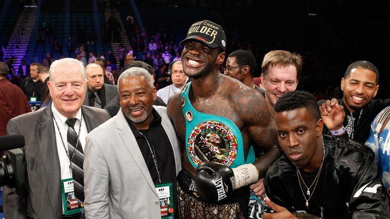 Deontay Wilder poses with his WBC heavyweight belt after  defeating Bermane Stiverne on points in January